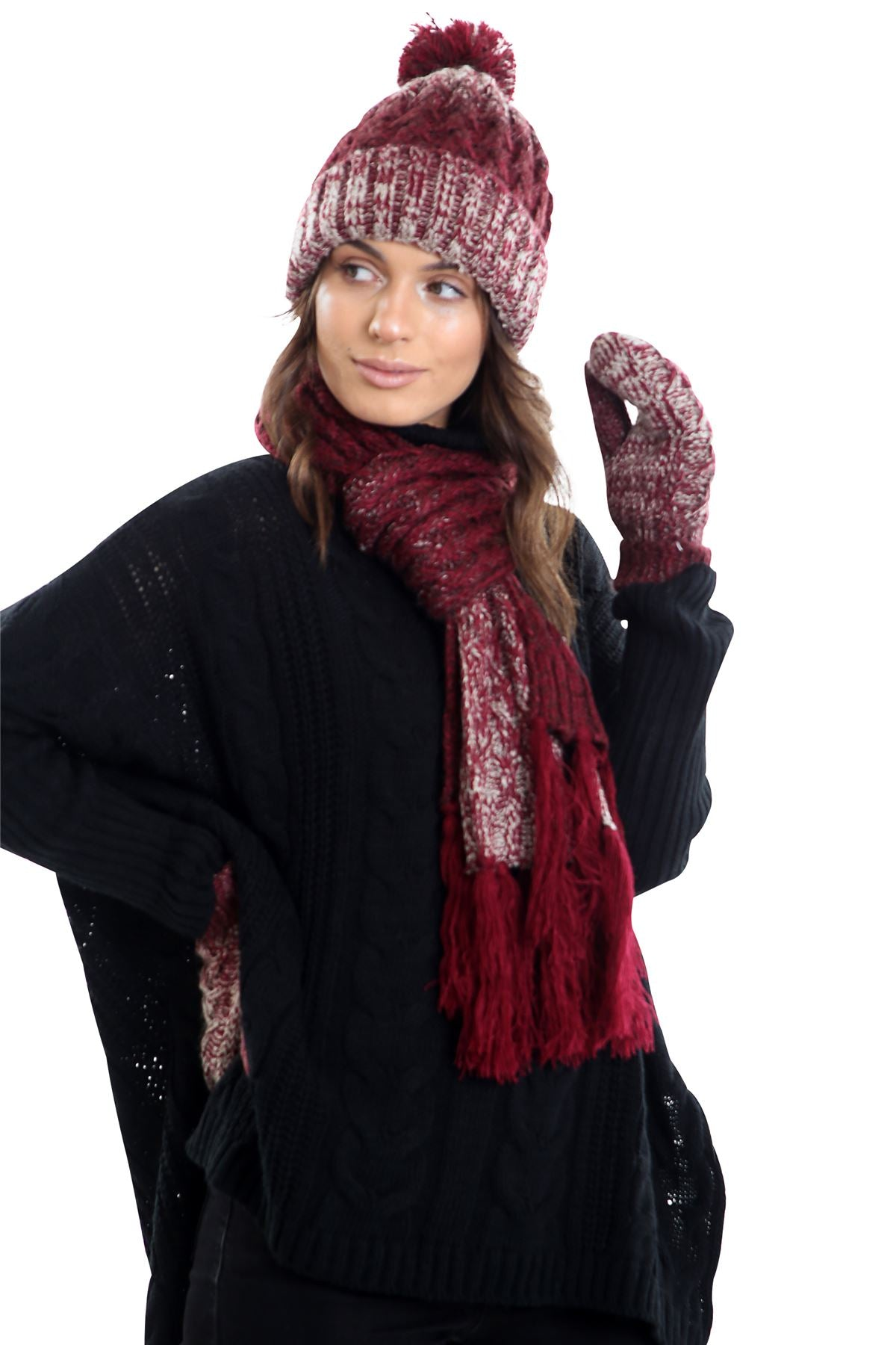 Womens LHTSF172 Wooly Thick knitted Hat, Scarf and Glove set -  Red & Grey