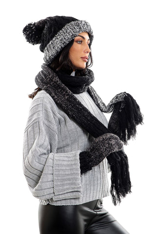 Womens LHTSF172 Wooly Thick knitted Hat, Scarf and Glove set -  Black & Grey