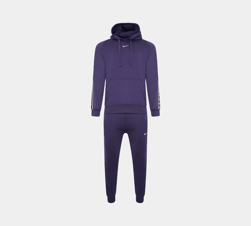 Nike Taped Swoosh Overhead Full Tracksuit Fleece Tracksuit Set Navy