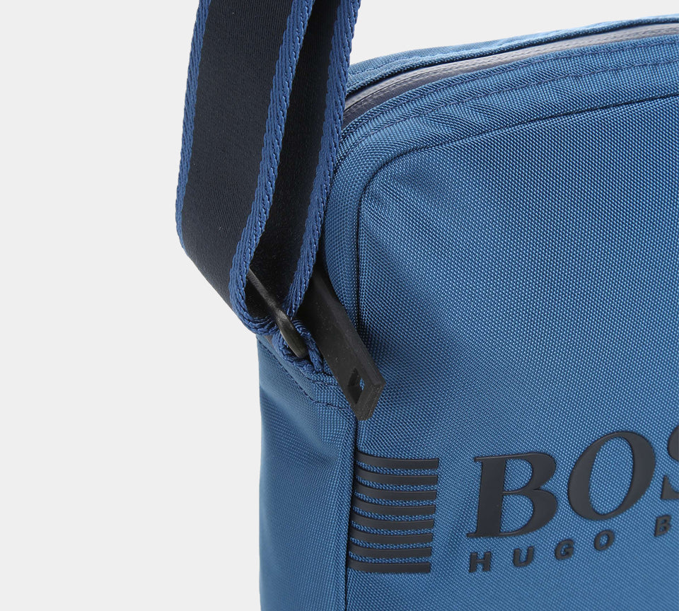 Hugo Boss Reporter Bag in Structured Nylon with Printed Logo