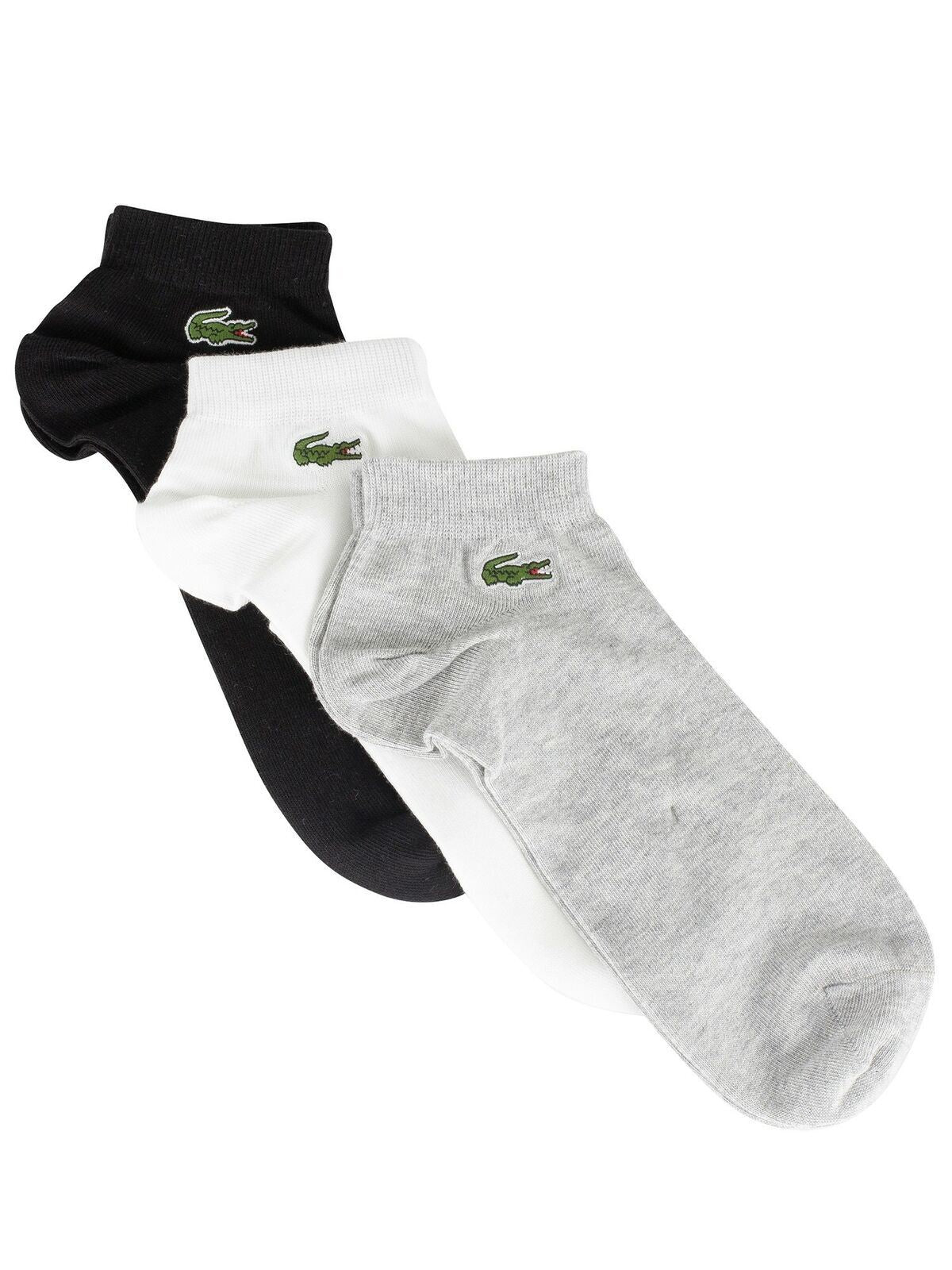 Lacoste Mens Low Cut Ankle Fashion Sport Socks Black Grey & White
