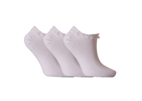 Ladies Fresh Feel Girls Lace White Black Trainer Socks Ankle UK 4-7