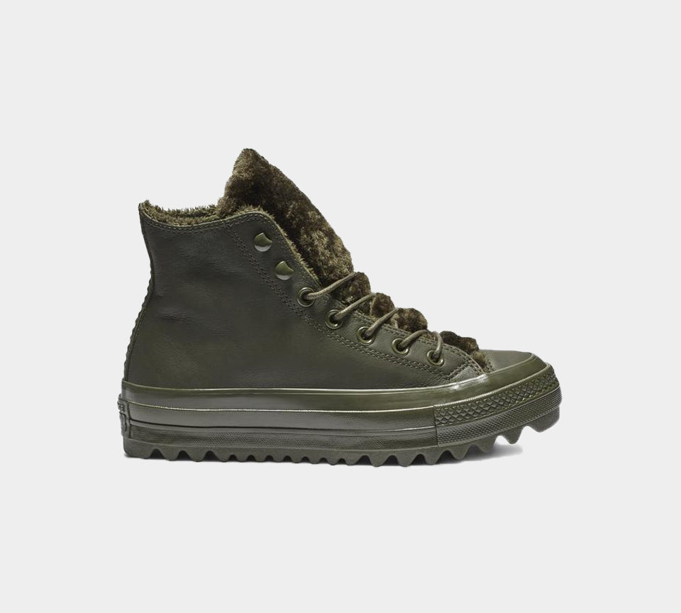 Converse CTAS Lift Ripple HI 562425C Utility Green Womens UK 3-8