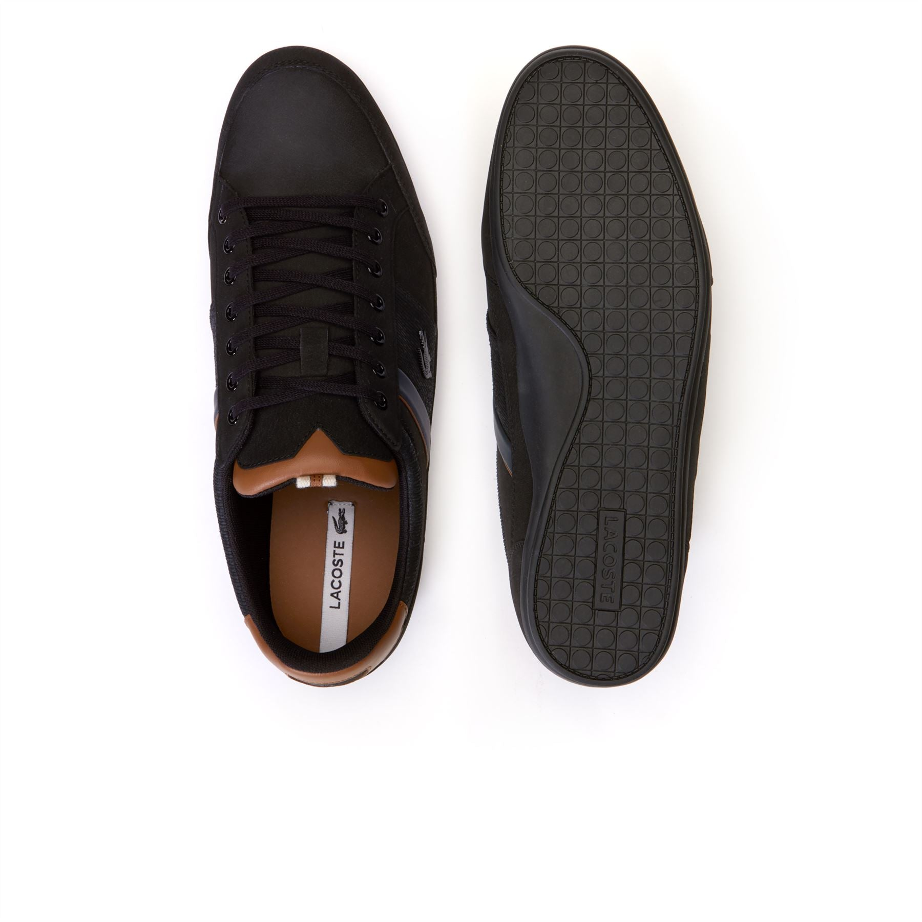 dfa7ab1d4c07f Lacoste Chaymon Nappa Leather   Suede Black Brown Trainers 36CAM0010094