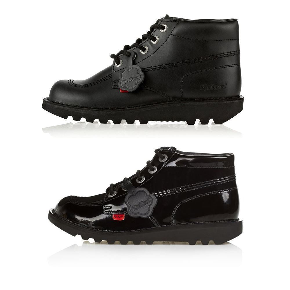 Kickers Classic Hi Black & Patent Boots Mens Women's & Youth School Work UK 3-12[UK 3-EU 36,BLACK]