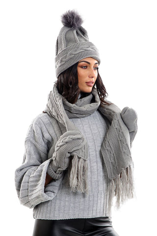 Ladies LHTSF171 Wooly Thick Knitted Hat Scarf & Mitten Set - GREY