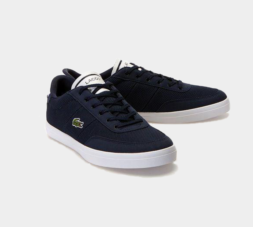 LACOSTE COURT-MASTER 118 1 CAM NVY/WHT CANVAS TRAINERS