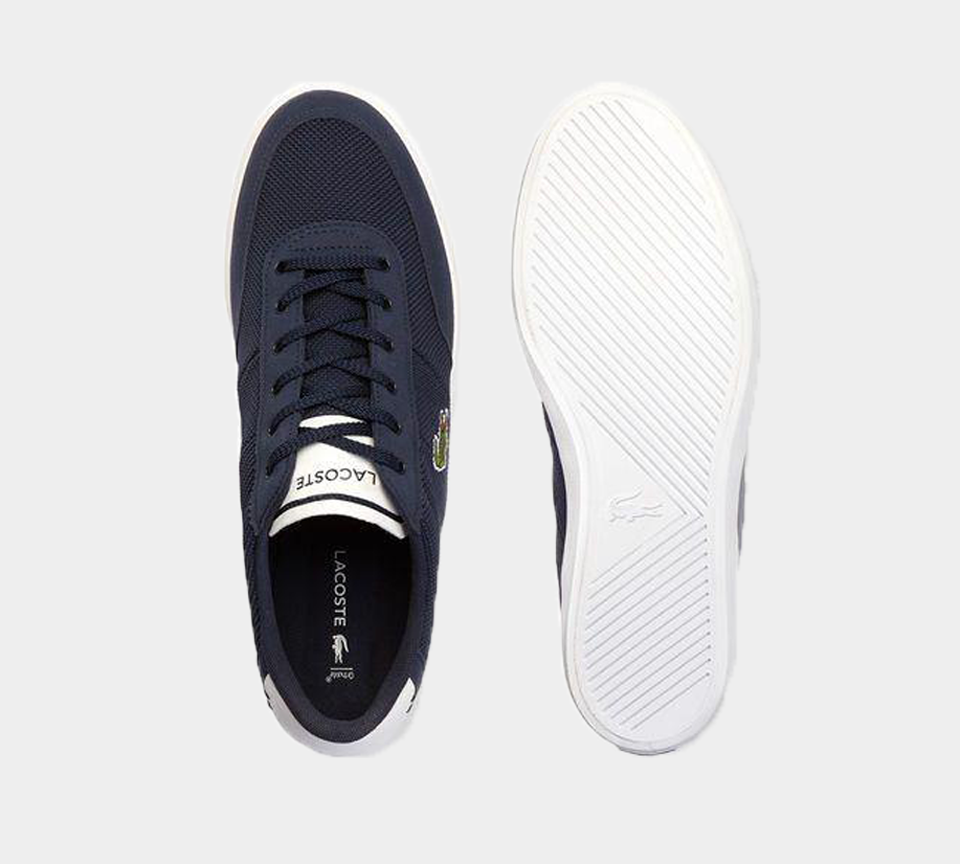 LACOSTE COURT-MASTER18 1 1 CAM NVY/WHT CANVAS TRAINERS