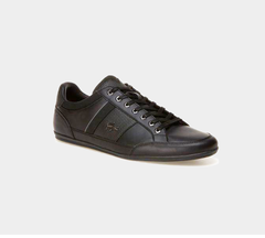LACOSTE CHAYMON 118 1 CAM BLK/DK GRY LEATHER TRAINERS