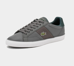 LACOSTE FAIRLEAD LEATHER TRAINERS DARK GREY
