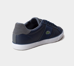LACOSTE FAIRLEAD LEATHER TRAINERS NAVY