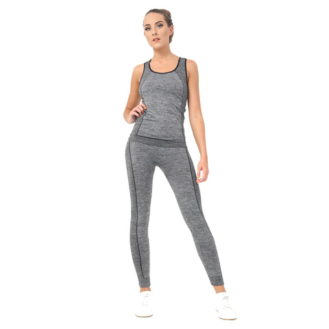 Women Ladies 2 Piece Yoga Fitness Sportswear Vest Top Leggings Set Gym Workout S-XL Grey
