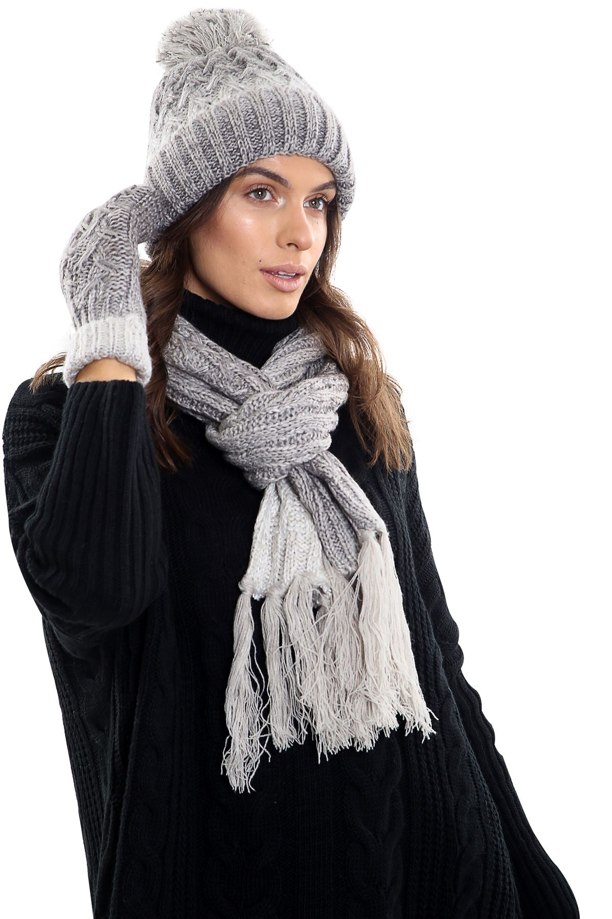 Womens LHTSF172 Wooly Thick knitted Hat, Scarf and Glove set -  Grey & White
