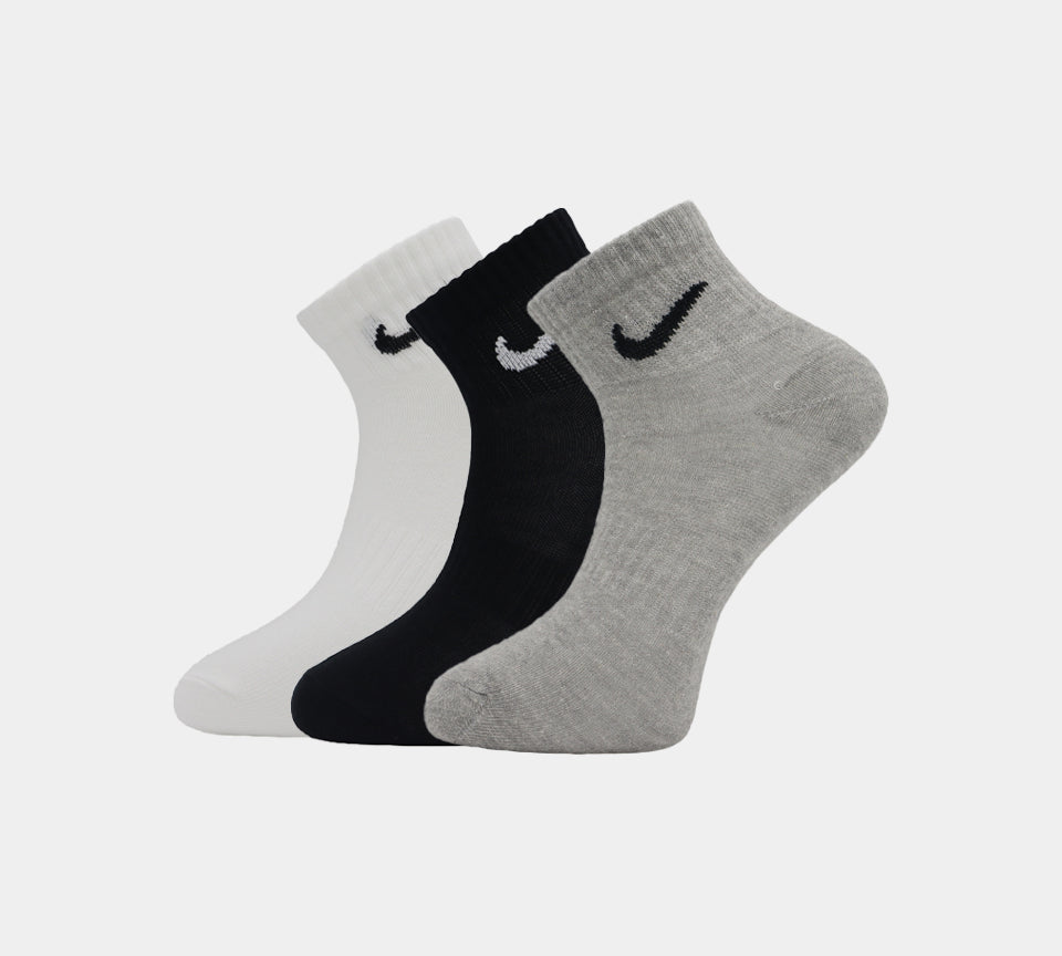 3 Pairs Nike Ankle Socks SX7677-901 White/Black/Grey