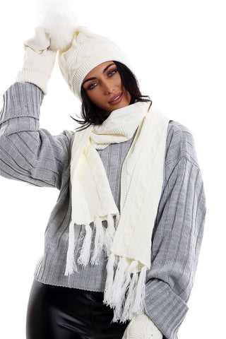 c33bde5bceb Ladies LHTSF171 Wooly Thick Knitted Hat Scarf   Mitten Set - CREAM
