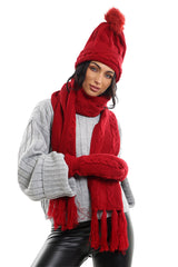 Ladies LHTSF171 Wooly Thick Knitted Hat Scarf & Mitten Set - WINE