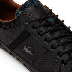 LACOSTE CHAYMON LEATHER TRAINERS BLACK/TAN