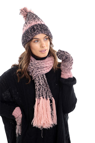 Womens LHTSF172 Wooly Thick knitted Hat, Scarf and Glove set -  Pink & Black
