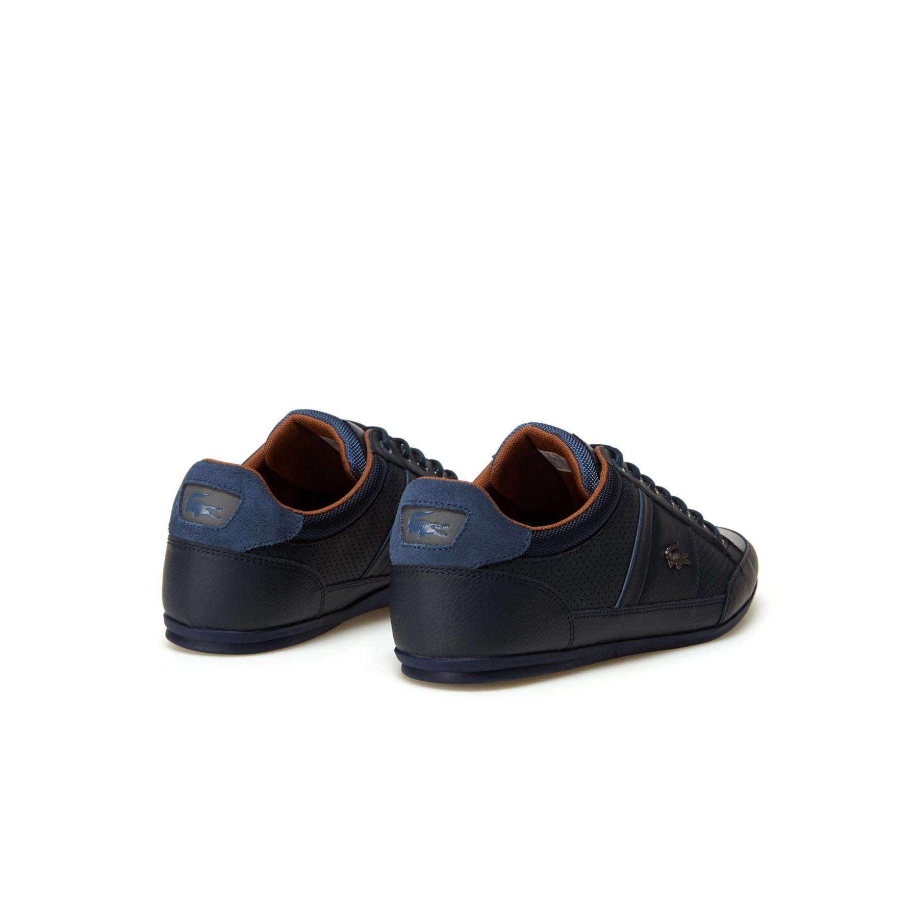 LACOSTE CHAYMON LEATHER TRAINERS NAVY/TAN
