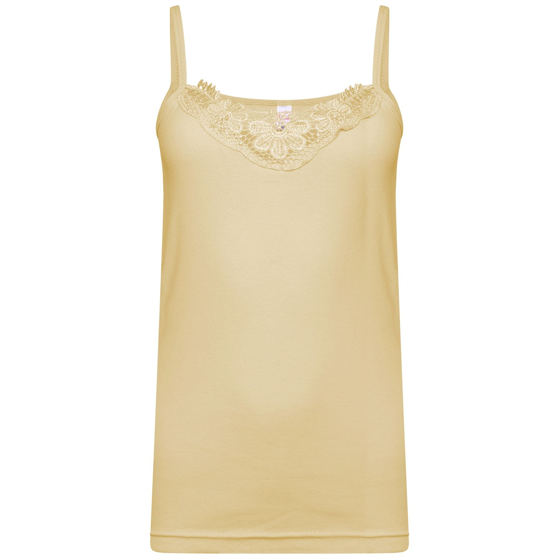 Ladies Plain Cotton Vest Top Lace Trim Neck Design Cami Tank Strappy Camisole