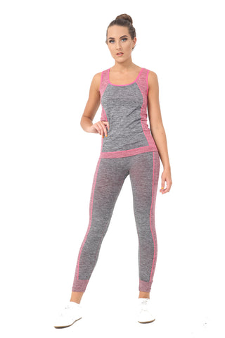 Women Ladies 2 Piece Yoga Fitness Sportswear Vest Top Leggings Set Gym Workout S-XL Pink