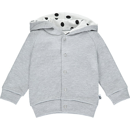 Grey Hoodie with Polka Dot Lining