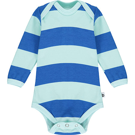 Blue Striped Long Sleeve Bodysuit