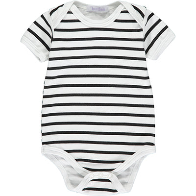 Black and White Striped Short Sleeved Bodysuit
