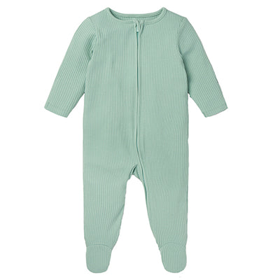Mint Ribbed Zip-Up Sleepsuit