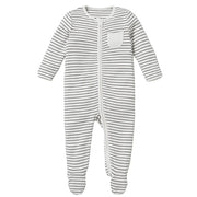 Grey Stripe Zip-Up Sleepsuit