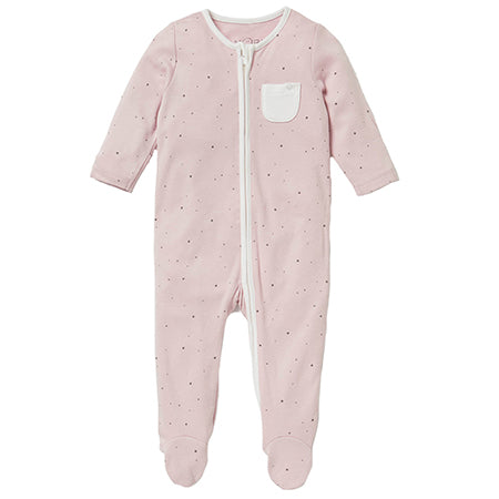 Pink Stardust Zip-Up Sleepsuit