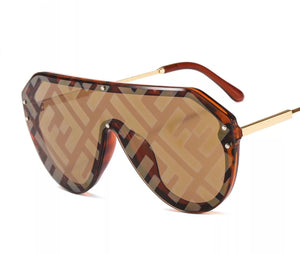 FF Print Round Shades - Brown