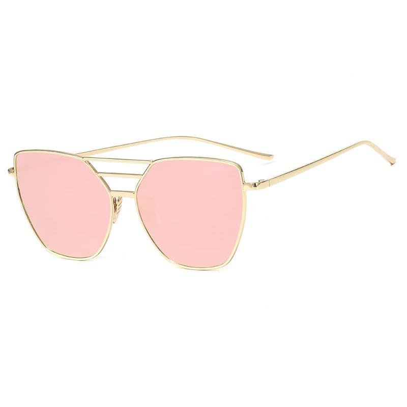 Rose Gold Pink Mirror Sunglasses