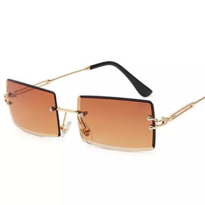 Rimless Brown Rectangle sunglasses