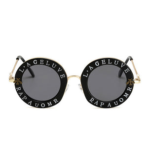 Shop Elegance Round Sunglasses With English Letters
