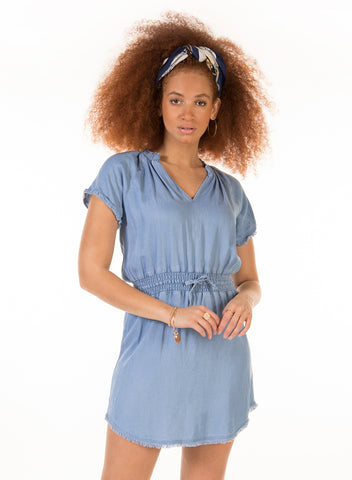 Frayed Hem Blue Denim Dress