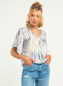 Watercolor Wrap Blouse