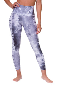 High Rise Midi Legging - Light Gray Tie Dye