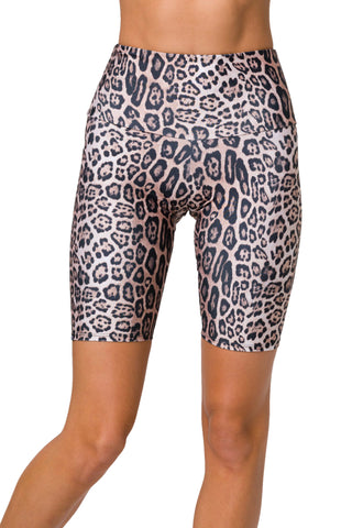 High Rise Leopard Biker Short