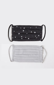 Black Stars Pleated Face Mask - Combo Pack