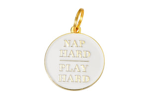 'Nap Hard Play Hard' Collar Tag