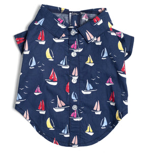 Sailboats Button Up Dog Shirt