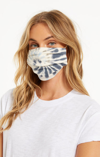 Navy Tie Dye Pleated Face Mask - Combo Pack