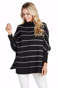 Striped Turtleneck Dolman Sleeve Sweater