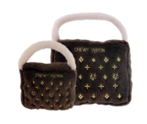 Chewy Vuitton Brown Purse Dog Toy