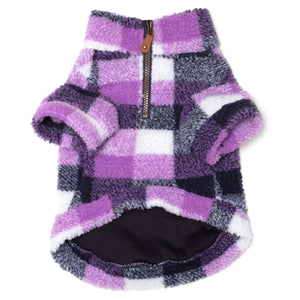 Sherpa 1/4 Zip Pullover - Purple Check