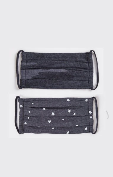 Navy Camo/Stars Pleated Face Mask - Combo Pack