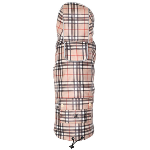 Tan Plaid Dog Raincoat