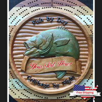 """Fish by Day"" Cribbage Board"