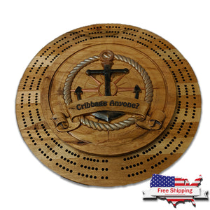 """Nautical Anchor"" Cribbage Board"